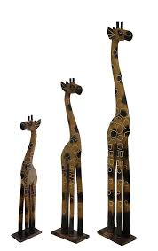 set of 3 hand crafted wooden giraffe statues 24 32 and 39 inches 0