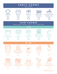 Household Chores Roster Kids Chore Chart To Earn Money House Mix