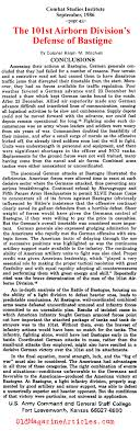 article concerning battle of the bulge st airborne the defense of bastogne combat studies group 1986