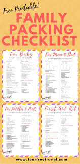Sample Travel Packing List Free Printable Packing List Sample For Travel With Kids Tear Free