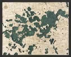 Lake Minnetonka Wood Carved Topographic Depth Chart Map
