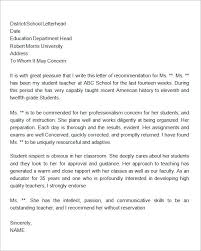 Teacher Recommendation Template 19 Letter Of Recommendation For Teacher Samples Pdf Doc