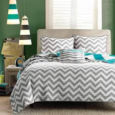 Twin size Reversible Quilt Set in Grey White Teal Blue Green ... & Twin size Reversible Quilt Set in Grey White Teal Blue Green Chevron Stripe Adamdwight.com