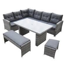 image corner dining set. Malmo Corner Dining Set - Granite Rattan Image