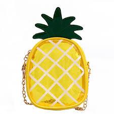 Qzunique Girls Transparent Pvc Clear Crossbody Shoulder Bag Cute Pineapple Shaped Handbag Satchel