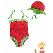 BERTERI One-Piece Cute Red Watermelon Swimsuits with Swimming Cap ...
