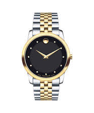 movado mens watch two tone movado museum classic 0606879 black dial two tone stainless steel men s watch