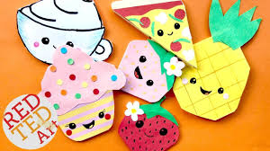 5 kawaii food bookmark corners pineapple pizza cupcake strawberry coffee cup bookmark diys red ted art