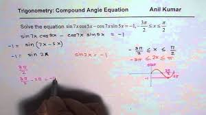 solve trigonometric equation with compound angle in restricted domain
