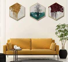 abstract tree painting hexagon canvas
