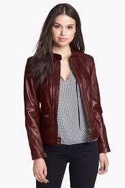 image of bernardo zip trim leather scuba jacket