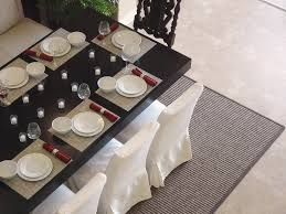 Under Dining Table Rugs Simple Candle Holder Side Tableware On Square Black Table Fit To