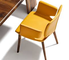 yellow luxury leather dining chair on wood dining chair