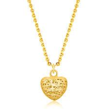 14k yellow gold lace design puffed heart pendant diamond designs orange ct jewelry