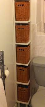 Shelving : Tall Bathroom Baskets On Display Skinny Storage Shelf ...