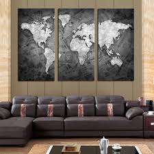 frameless 3 pcs wall art classical grey color modern world map canvas painting contemporary artwork wall on gray wall art for living room with frameless 3 pcs wall art classical grey color modern world map