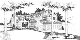 house front color elevation view for 6631 split level house plans 3 bedroom house plans