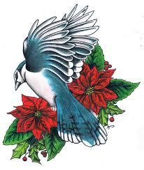 Blue Jay Poinsettias By Mitchbarbertattoos On Deviantart