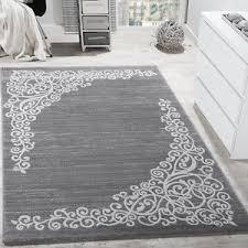 image is loading greywhiterugfloraldesignglittersilversoft grey white rug s90