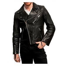 men black goatskin biker leather jacket