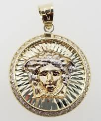 details about small 10k white yellow gold two tone medusa head face charm pendant medallion cz
