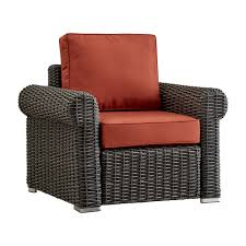 Riviera Pointe Wicker Patio Round Arm Club Chair with Cushions -  Charcoal/Red - Inspire