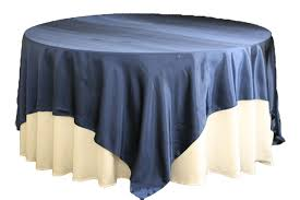 picture shown is 90 square overlay placed on a 60 round table with 120 round tablecloth