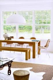 farmhouse table bench with leather and chrome chairs