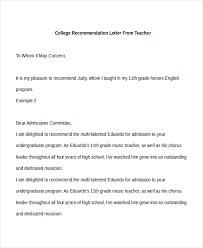 teacher letter of recommendation recommendation letter for college letter of recommendation format