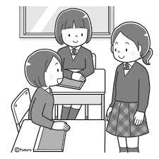 教室で話をする女子学生のイラストモノクロ 子供と動物のイラスト屋