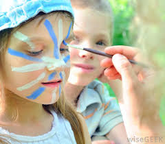 face painting is common at parties and festivals for children