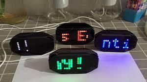 diy black mirror led matrix desktop alarm clock kit with temperature display holiday and birthday re