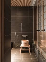 japanese bathroom design. Earthy Brown Bathroom Tiles Look Awesome With Light Woods And Bring A Luxurious Feel To The Japanese Design
