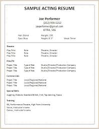 Acting Resume Example Amazing Sample Acting Resume Engneeuforicco