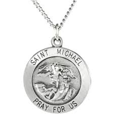 antiqued sterling silver round st michael medal necklace