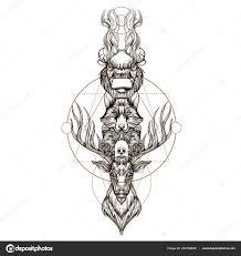 Totem Jelena Medvěda Vlka Buffalo Obrys Vektorové Ilustrace
