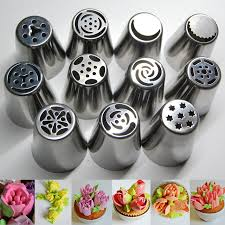11pcs Stainless Steel Russian Tulip Icing Piping Nozzles Pastry