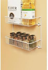 this ventilated wire rack has two 5 in deep tiers and can be installed to cabinet doors or walls for extra storage