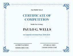 School Certificates Template School Competition Certificate Free School Competition