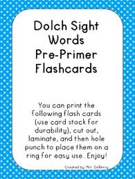 Dolch Sight Word Flash Cards Pre Primer
