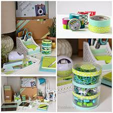 take boring desk accessories and ipad from drab to fab with tape at tidymom net
