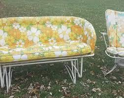 yellow patio furniture. Mid-Century White Metal Patio Furniture, Glider Love Seat And Swivel Chair,  Vintage Set, Retro, Mod, 50\u0027s, 60\u0027s MCM Outdoor Furniture Yellow Patio Furniture