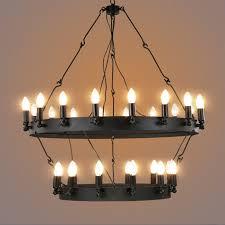 industrial vintage round shaped pendant light black hanging wire chandelier