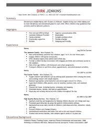 Nanny Resume Objective Berathen Com