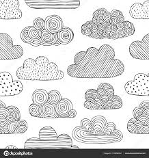 Clouds Design Beautiful Black And White Seamless Pattern Of Doodle Clouds Design