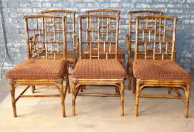 bamboo dining chairs. Set 6 Baker Milling Road Rattan Bamboo Dining Chairs Chippendale I