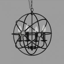 matte black vintage style 4 light globe cage led chandelier
