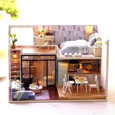 dollhouse modern furniture. Simple Dollhouse Modern Dollhouse Furniture Blue Time Miniature Wooden  Kit Led Gift   To Dollhouse Modern Furniture N