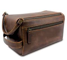 leather toiletry bag for men handmade for travelling vacations and adventures