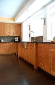 kitchen backsplash cherry cabinets black counter. Cherry Cabinets / Black Countertops Stone Backsplash Sleek Hardware Kitchen Counter T